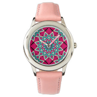 Pink and turquoise floral mandala pattern watch