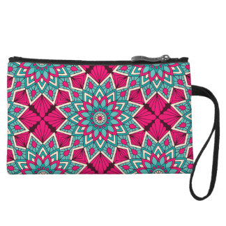 Pink and turquoise floral mandala pattern wristlet clutch