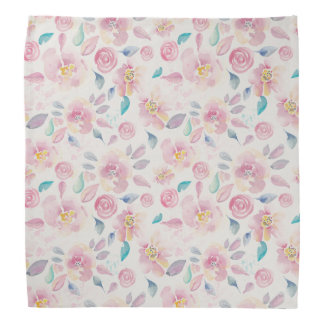 Pink and Turquoise Floral pattern Bandanna