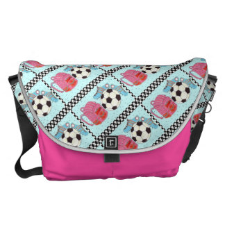 Pink and Turquoise Girls Soccer Courier Bag