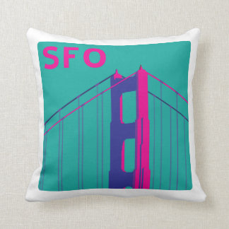 Pink and Turquoise Golden Gate Bridge Pillow