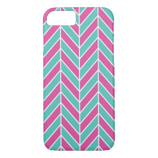 Pink And Turquoise Herringbone iPhone 7 Case