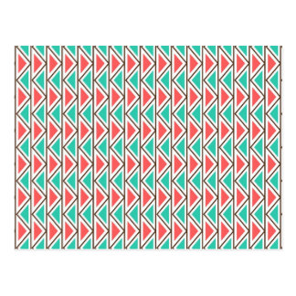 Pink and Turquoise Triangle Aztec Tribal Pattern Postcard