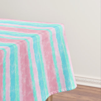 Pink and Turquoise Watercolor Stripes Tablecloth