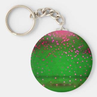 Pink And Violet Flickering Lights Basic Round Button Keychain