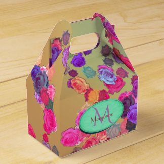 Pink and Violet Roses in a Random Pattern Favor Box
