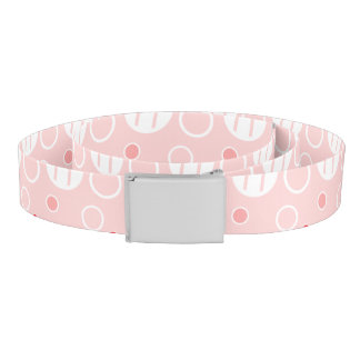Pink and White Abstract Circle Pattern Belt