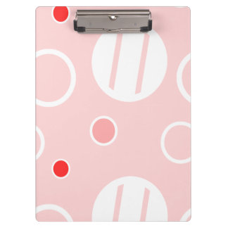 Pink and White Abstract Circle Pattern Clipboard