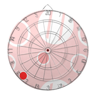 Pink and White Abstract Circle Pattern Dartboard