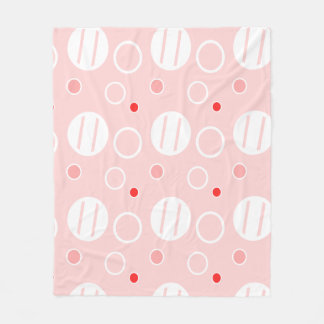 Pink and White Abstract Circle Pattern Fleece Blanket