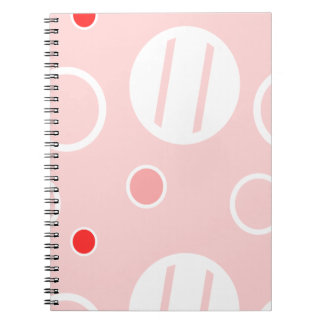 Pink and White Abstract Circle Pattern Notebooks