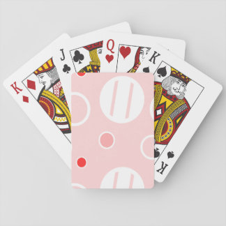 Pink and White Abstract Circle Pattern Playing Cards