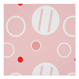 Pink and White Abstract Circle Pattern Poster