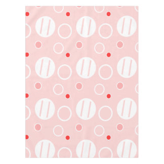 Pink and White Abstract Circle Pattern Tablecloth