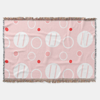 Pink and White Abstract Circle Pattern Throw Blanket