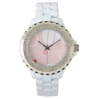 Pink and White Abstract Circle Pattern Watch