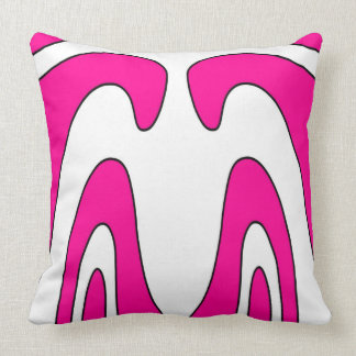 Pink and White Abstract Design Throw Pillow