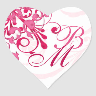 Pink and White Abstract Floral Envelope Seal Heart Sticker