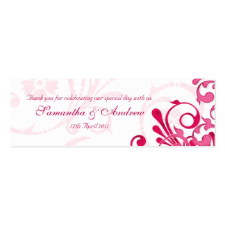 Pink and White Abstract Floral Favour Tags Mini Business Card