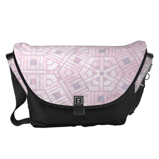 Pink and White Abstract Pattern Messenger Bags