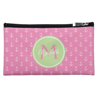 Pink and White Anchors With Mint Green Monogram Cosmetic Bag