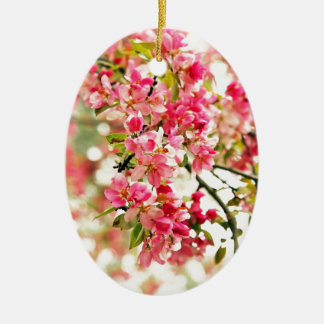 Pink and White Apple Blossoms Ceramic Oval Ornament