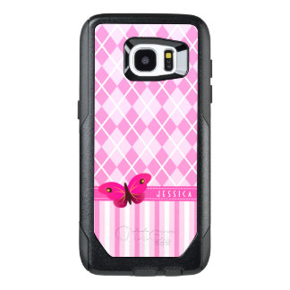 Pink and White Argyle Stripes Background Butterfly
