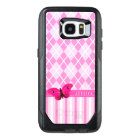 Pink and White Argyle Stripes Background Butterfly OtterBox Samsung Galaxy S7 Edge Case