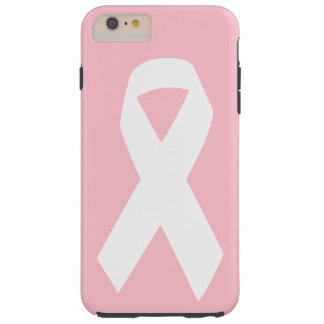 Pink and White Awareness Ribbon Tough iPhone 6 Plus Case