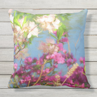 Pink and White Azaleas Outdoor Pillow