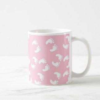Pink and White Baby Feet - Baby Shower Print Coffee Mug