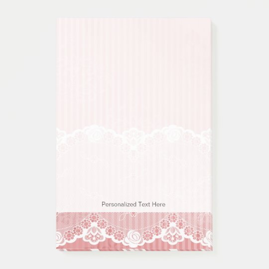 Pink and white background with black lace post-it® notes