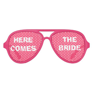Pink and White Bride's Party Eye Glasses Party Sunglasses