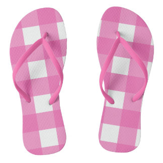 Pink and White Buffalo Check Flip Flops