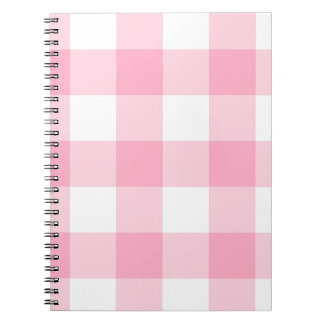 Pink and White Buffalo Check Notebook