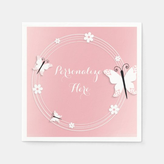 Pink and White Butterflies & Flowers Custom Disposable Napkin