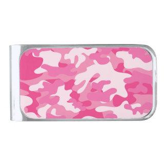 Pink and White Camo Design Silver Finish Money Clip