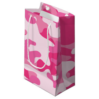 Pink and White Camo Design Small Gift Bag