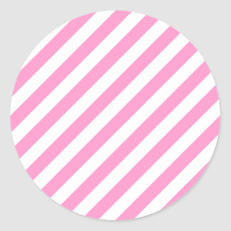 Pink and White Candy Stripes. Classic Round Sticker
