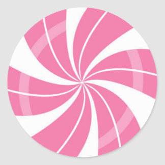 Pink and white candy swirl, peppermint candy classic round sticker