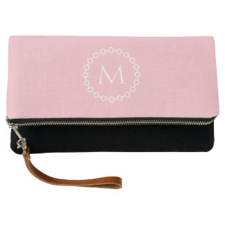 Pink and White Chain Link Ring Circle Monogram Clutch