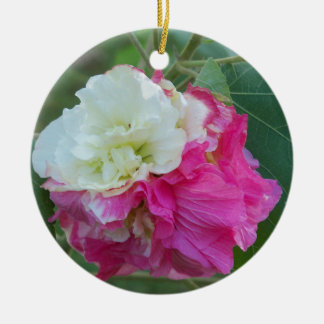 pink and white changeable hibiscus bloom ceramic ornament
