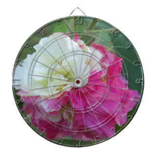 pink and white changeable hibiscus bloom dartboard