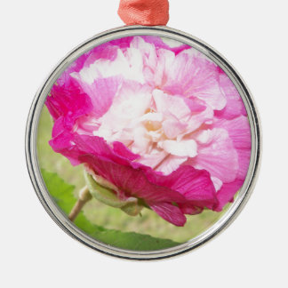 pink and white changeable hibiscus bloom metal ornament