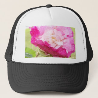 pink and white changeable hibiscus bloom trucker hat