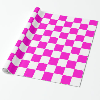 Pink and White Checkerboard Wrapping Paper
