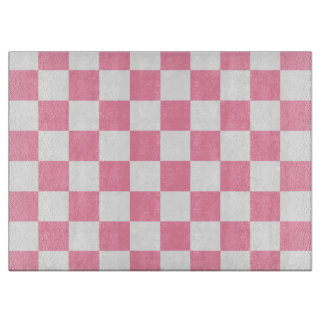 Pink and White Checkered Cutting Board