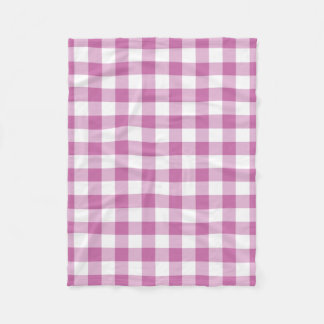 Pink And White Checks Gingham Pattern Fleece Blanket