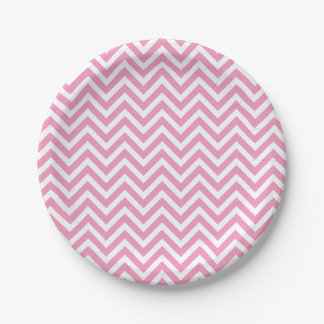Pink and White Chevron 7 Inch Paper Plate