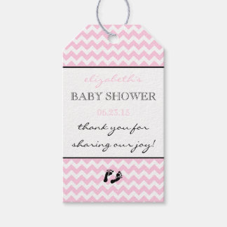 Pink and White Chevron Baby Shower Thank You Favor Pack Of Gift Tags